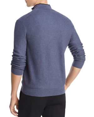 THE MEN'S STORE AT BLOOMINGDALE'S The Men'S Store At Bloomingdale'S Tipped Half-Zip Textured Sweater - 100% Exclusive in Washed Blue