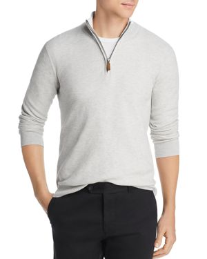 THE MEN'S STORE AT BLOOMINGDALE'S The Men'S Store At Bloomingdale'S Tipped Half-Zip Textured Sweater - 100% Exclusive in Light Heather Gray