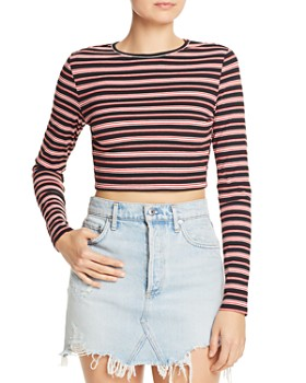 Honey Punch - Tie-Back Striped Cropped Sweater