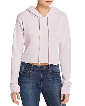 Wildfox T-shirts PASE THE ROSE CROPPED HOODED SWEATSHIRT