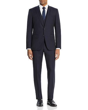 BOSS - Huge/Genuis Tonal Micro-Checked 3-Piece Slim Fit Suit
