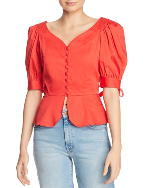 PERSEVERANCE LONDON Mambo Puffed-Sleeve Top in Red