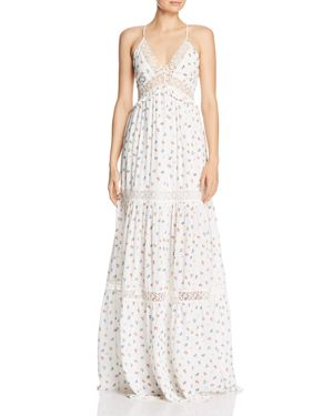 PERSEVERANCE LONDON Sacramento Floral Maxi Dress in White