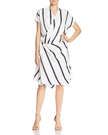 Equipment - Leonce Striped Wrap Dress