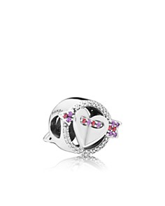 PANDORA - Sterling Silver & Cubic Zirconia Sparkling Arrow & Heart Charm