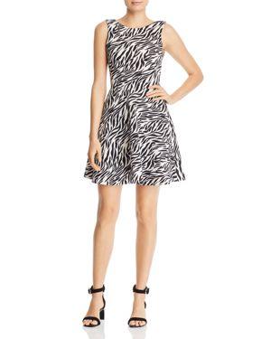 AQUA Zebra Print Fit-And-Flare Dress - 100% Exclusive in White/Black
