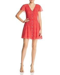 AQUA - Dot-Print Button-Front Dress - 100% Exclusive