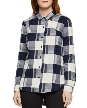 BCBGeneration Lace-Up Plaid Flannel Shirt