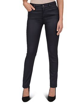 Gerard Darel - Mid Rise Full Length Coated Studded Slim Jeans in Blue