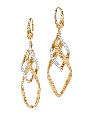 John Hardy  18K YELLOW GOLD CLASSIC CHAIN WAVE PAVE DIAMOND DROP EARRINGS
