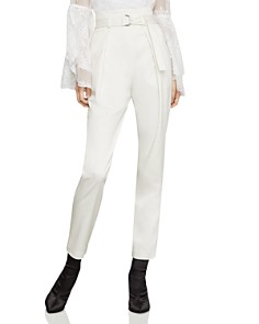 BCBGMAXAZRIA - Belted Pleated Ankle Pants