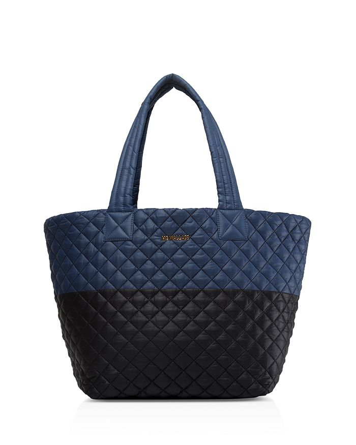 Mz Wallace Medium Metro Tote In Black And Blue/gold