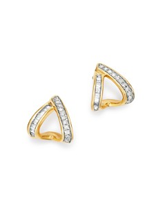 Adina Reyter - 14K Yellow Gold Heirloom Pavé & Baguette-Cut Diamond Double J Hoop Earrings