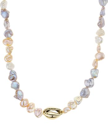"""AQUA - Shell & Cultured Freshwater Pearl Necklace, 12"""" - 100% Exclusive"""