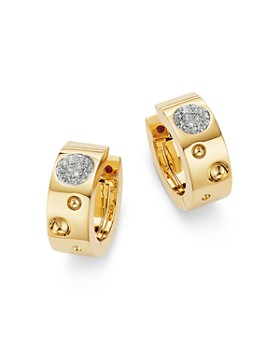 Roberto Coin - 18K Yellow Gold Pois Moi Luna Diamond Hoop Earrings