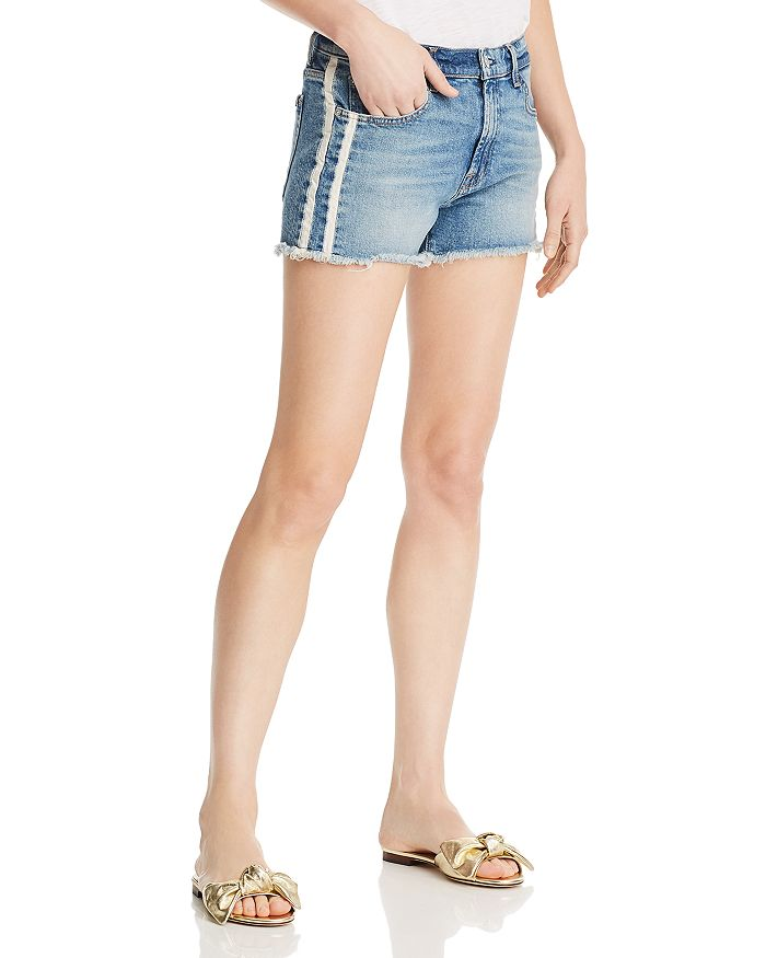 7 For All Mankind - Side-Stripe Vintage Cutoff Denim Shorts in Sloan Vintage 2