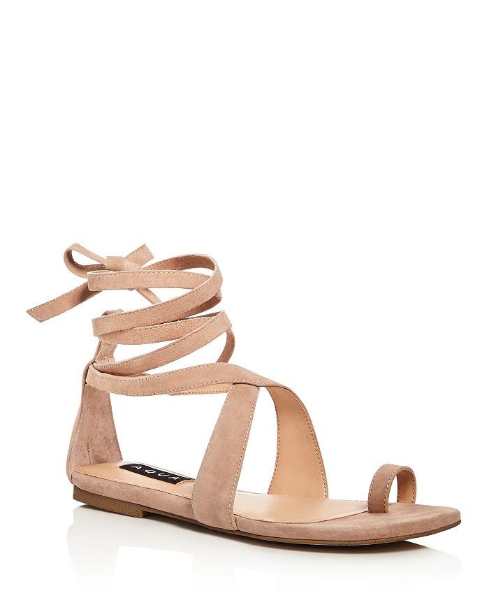 AQUA - Women's Bay Suede Lace Up Sandals - 100% Exclusive