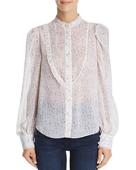 Divine Heritage - Ruffle-Trimmed Floral Blouse