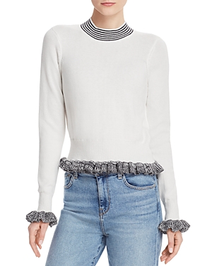 French Connection Sweaters ALEXA RIBBED RUFFLED SWEATER