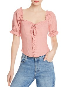 Re:Named - Pam Ruffled Lace-Up Blouse