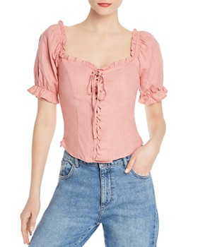 2f059fba8b806 Re Named - Pam Ruffled Lace-Up Blouse ...