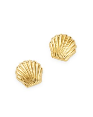 14 K Yellow Gold Seashell Stud Earrings   100 Percents Exclusive by Moon & Meadow