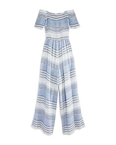 Vintage Havana - Girls' Striped & Smocked Off-the-Shoulder Jumpsuit - Big Kid