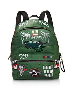 Sprayground - Boys' Shark-Infested Skies Faux-Leather Backpack
