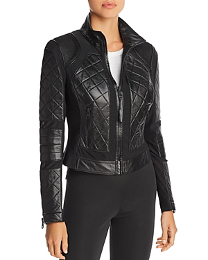 Blanc Noir Jackets LEATHER & MESH MOTO JACKET