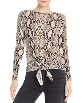 Olivaceous - Snake-Print Tie-Front Sweater