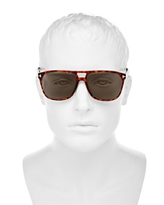 Tom Ford - Men's Shelton Polarized Brow Bar Square Sunglasses, 59mm