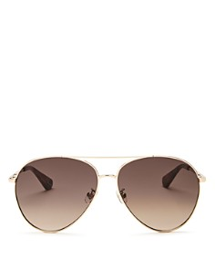 kate spade new york - Women's Carolane Brow Bar Aviator Sunglasses, 61mm