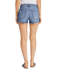 Free People - Sofia Distressed Denim Shorts in Denim Blue