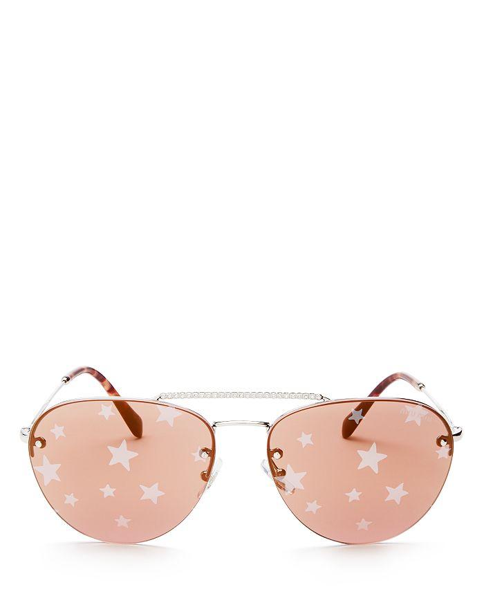 737594cb7 Miu Miu Women's Mirrored Brow Bar Aviator Sunglasses, 59mm ...