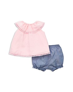Little Me - Girls' Pom-Pom Trim Tunic & Chambray Shorts Set - Baby