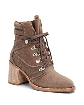 Aquatalia - Women's Elise Weatherproof Suede & Canvas Lace Up Block Heel Booties