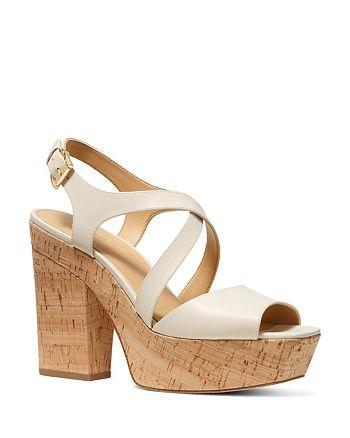 MICHAEL Michael Kors - Women's Abbott Leather Platform Wedge Sandals - 100% Exclusive