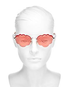 Miu Miu - Women's Brow Bar Scalloped Round Sunglasses, 55mm