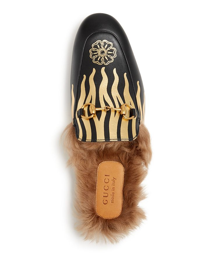 85c4c45b3 Gucci Men s Princetown Flames Leather   Lamb Fur Slippers ...