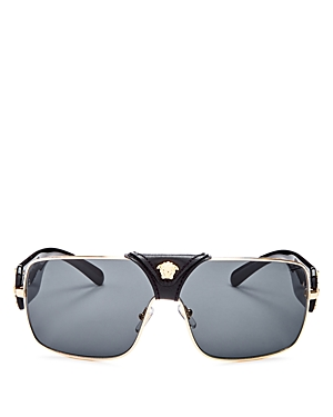 b5157ee07a96 Versace 145Mm Mirrored Shield Sunglasses - Black/ Gold Solid In Gold/Grey