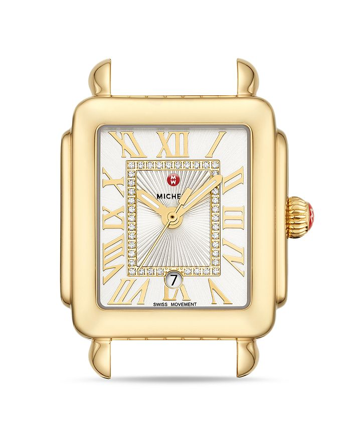 MICHELE - Deco Madison Mid Gold Diamond Dial Watch Head, 29mm x 31mm