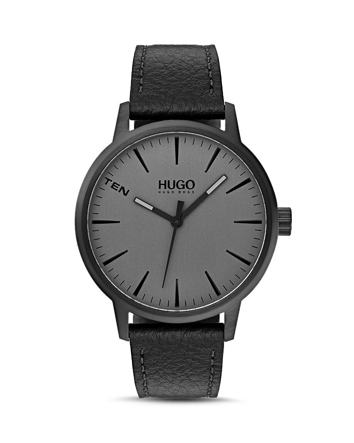 HUGO - #STAND Gray Dial & Black Leather Strap Watch, 40mm