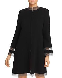 Armani - Striped Mesh-Trimmed Coat