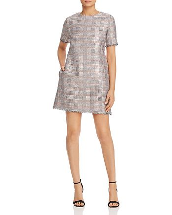Armani - Fringed Metallic Check-Pattern Dress