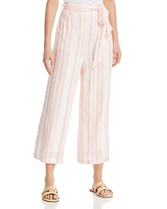 Lost and Wander - Striped Cropped Wide-Leg Pants