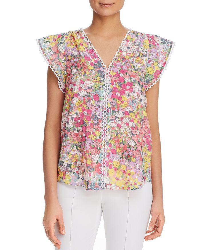 kate spade new york - Flutter-Sleeve Floral-Print Top