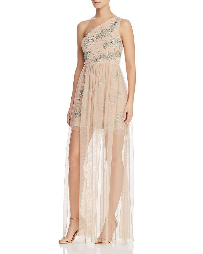 Aidan by Aidan Mattox - Embellished One-Shoulder Gown