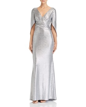 Avery G - Drape-Detail Metallic Gown