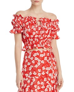 Whistles - Floral Garland Off-the-Shoulder Top - 100% Exclusive
