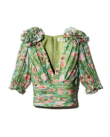 Amur - Nell Rose-Printed Silk Top